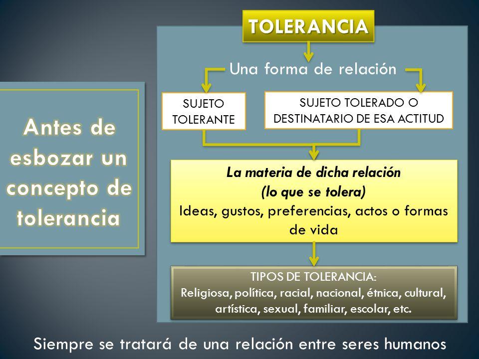 Antes de esbozar un concepto de tolerancia