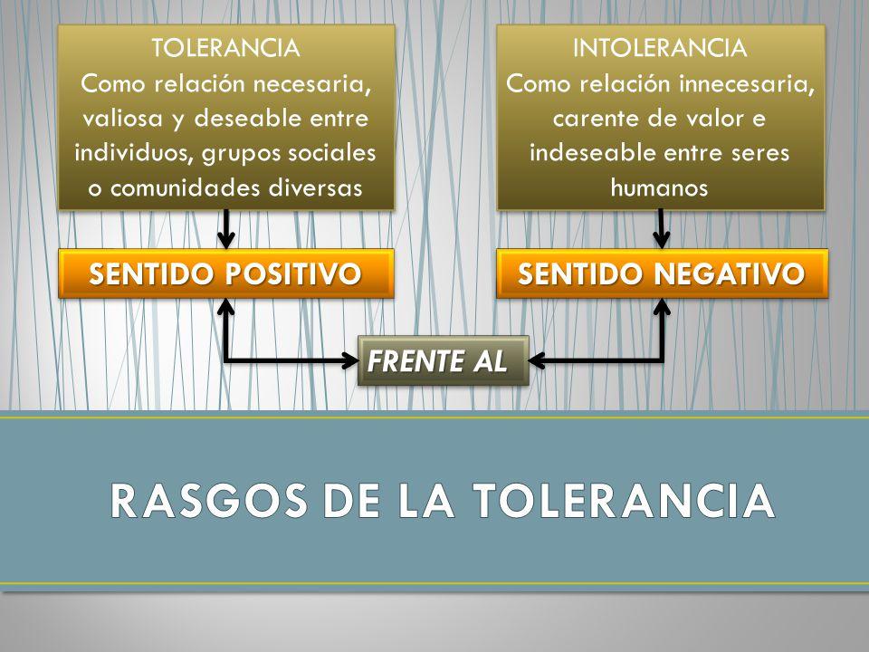 RASGOS DE LA TOLERANCIA