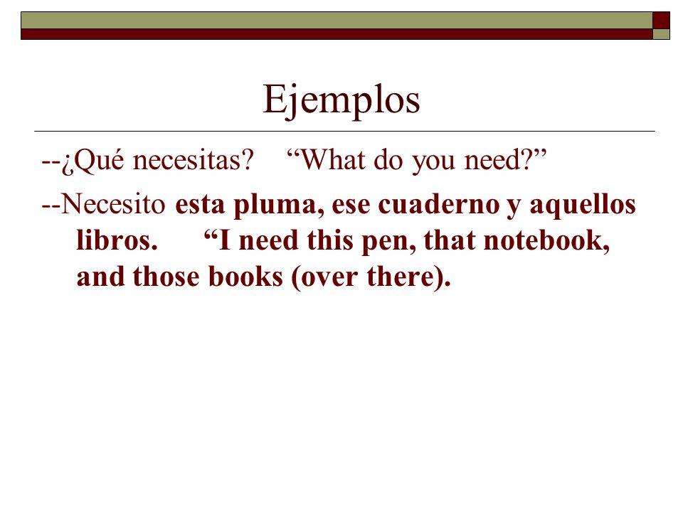 Ejemplos --¿Qué necesitas What do you need
