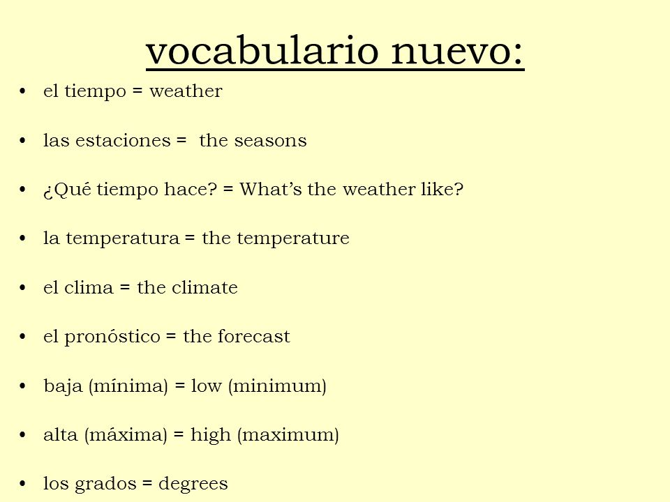 vocabulario nuevo: el tiempo = weather las estaciones = the seasons