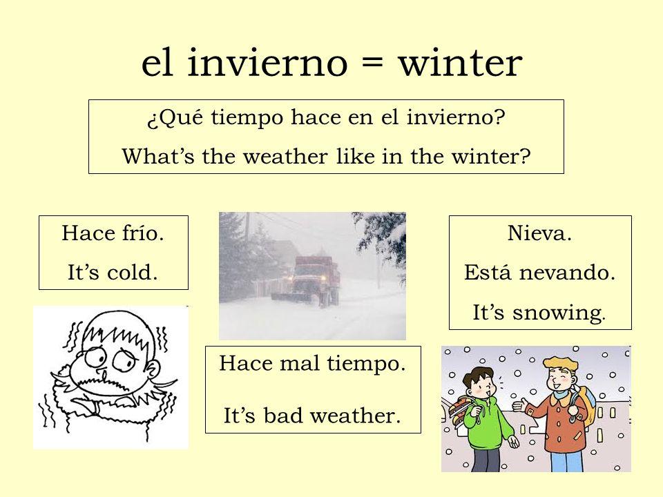 el invierno = winter ¿Qué tiempo hace en el invierno