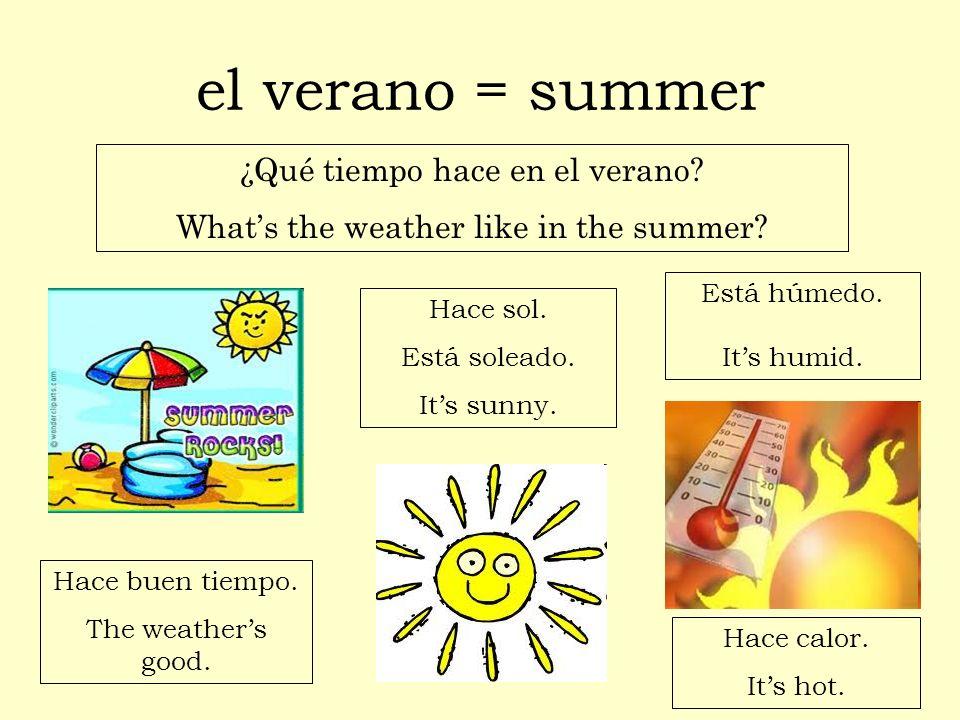 el verano = summer ¿Qué tiempo hace en el verano