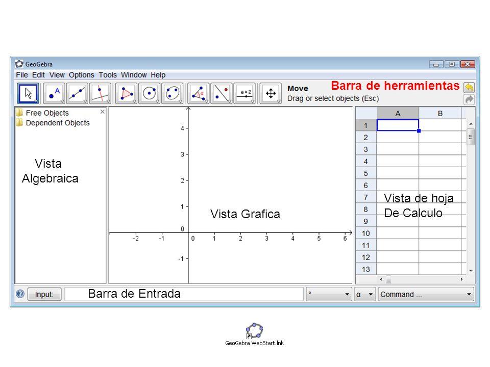 Barra de herramientas Vista Algebraica Vista de hoja De Calculo Vista Grafica Barra de Entrada