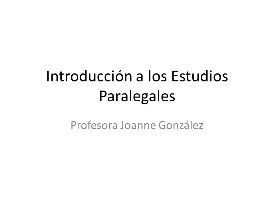 Introducción a los Estudios Paralegales