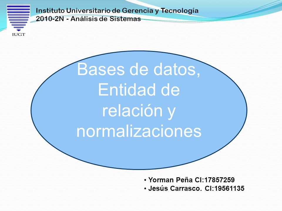 Bases de datos, Entidad de relación y normalizaciones