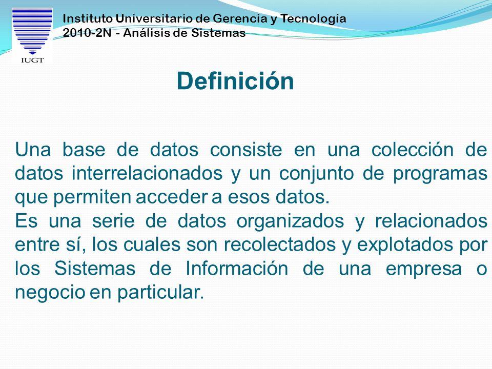 Definición Una base de datos consiste en una colección de datos interrelacionados y un conjunto de programas que permiten acceder a esos datos.