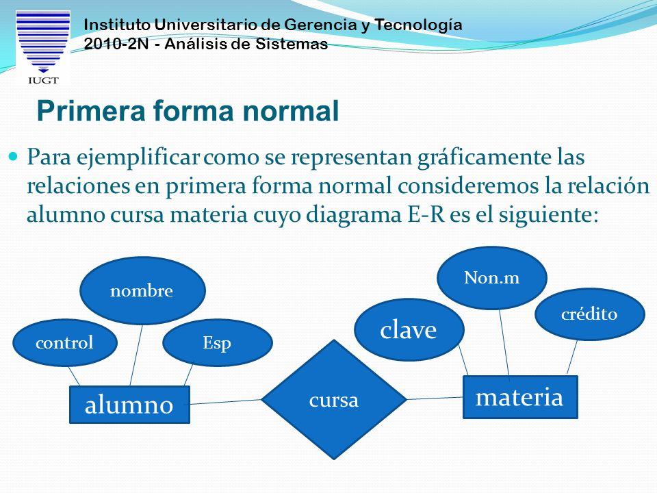 Primera forma normal clave materia alumno