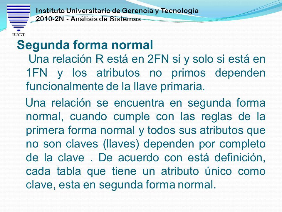 Segunda forma normal Una relación R está en 2FN si y solo si está en 1FN y los atributos no primos dependen funcionalmente de la llave primaria.