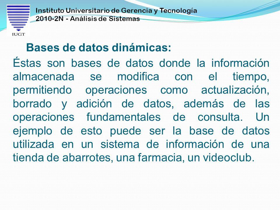 Bases de datos dinámicas:
