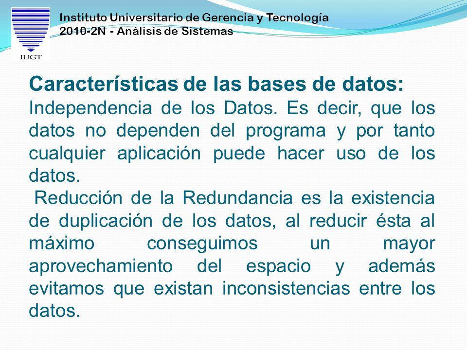 Características de las bases de datos: