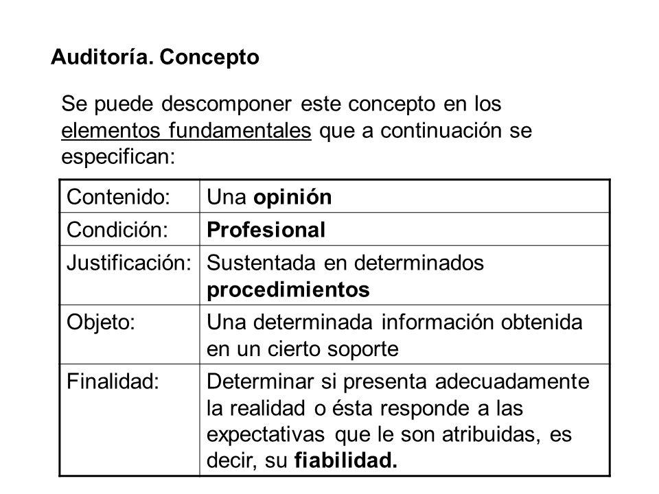 Auditoría. Concepto Se puede descomponer este concepto en los elementos fundamentales que a continuación se especifican: