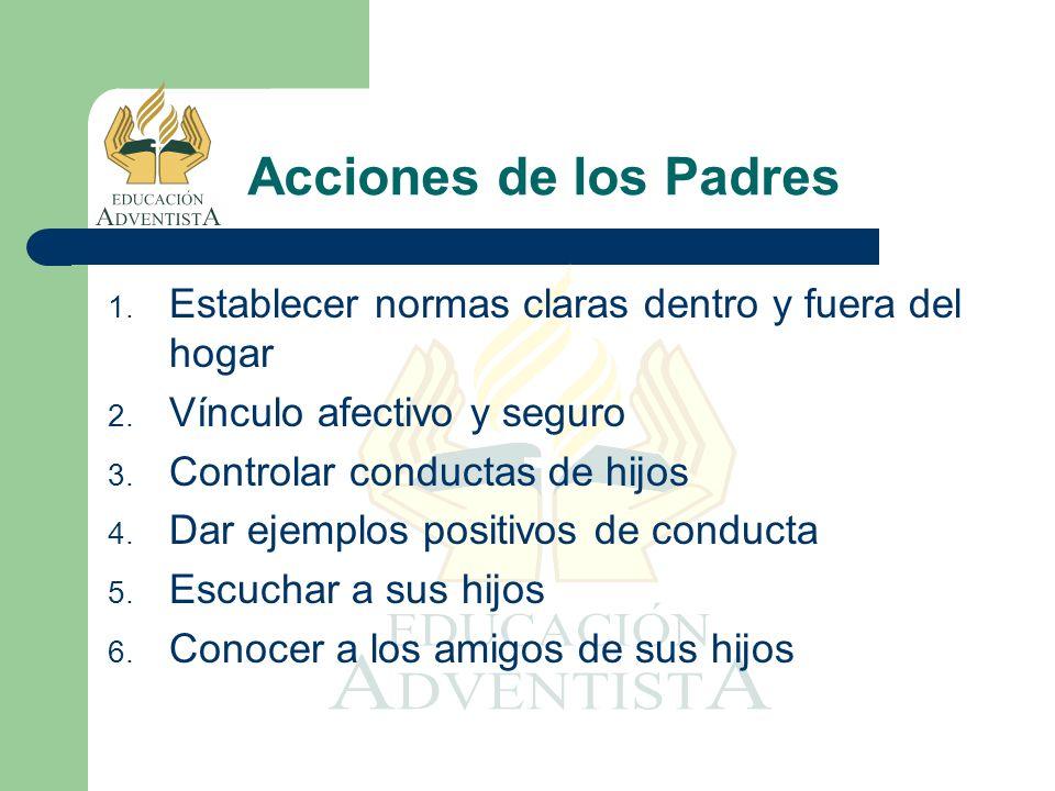 Acciones de los Padres Establecer normas claras dentro y fuera del hogar. Vínculo afectivo y seguro.