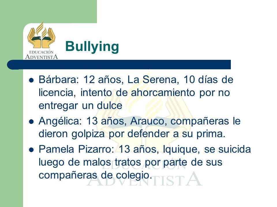Bullying Bárbara: 12 años, La Serena, 10 días de licencia, intento de ahorcamiento por no entregar un dulce.