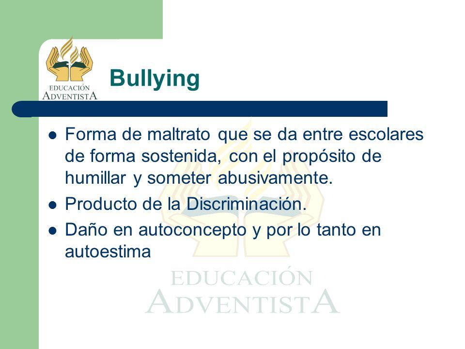 Bullying Forma de maltrato que se da entre escolares de forma sostenida, con el propósito de humillar y someter abusivamente.