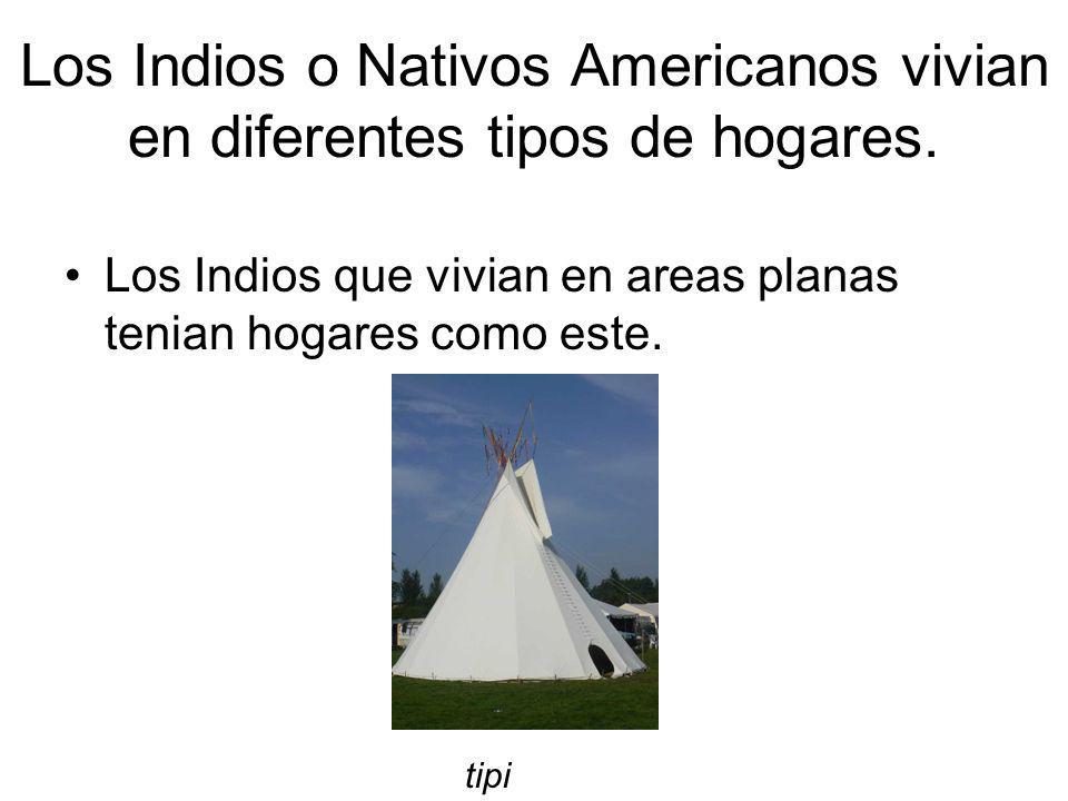 Los Indios o Nativos Americanos vivian en diferentes tipos de hogares.