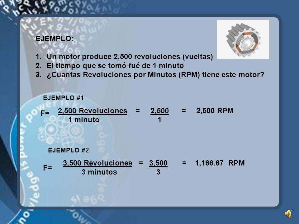 Un motor produce 2,500 revoluciones (vueltas)