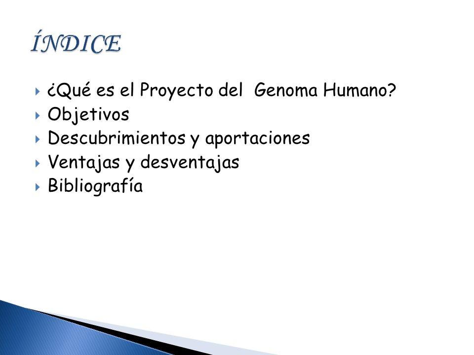 ÍNDICE ¿Qué es el Proyecto del Genoma Humano Objetivos