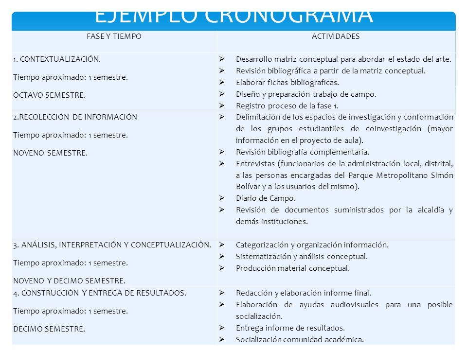 EJEMPLO CRONOGRAMA FASE Y TIEMPO ACTIVIDADES 1. CONTEXTUALIZACIÓN.