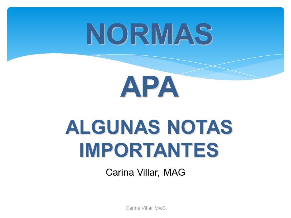 ALGUNAS NOTAS IMPORTANTES