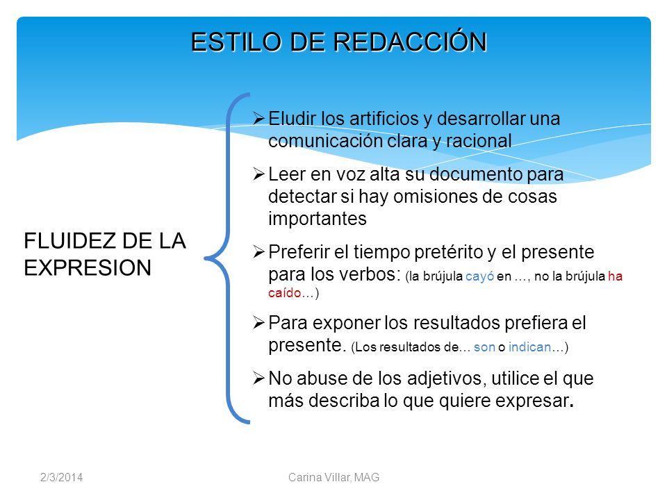 ESTILO DE REDACCIÓN FLUIDEZ DE LA EXPRESION
