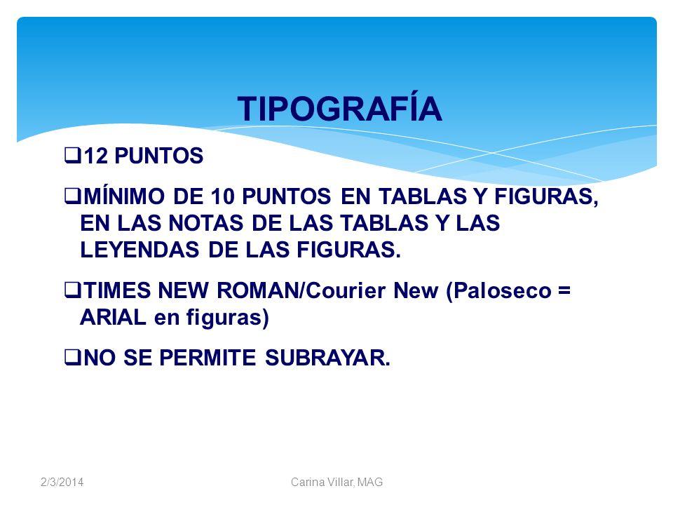 TIPOGRAFÍA12 PUNTOS. MÍNIMO DE 10 PUNTOS EN TABLAS Y FIGURAS, EN LAS NOTAS DE LAS TABLAS Y LAS LEYENDAS DE LAS FIGURAS.