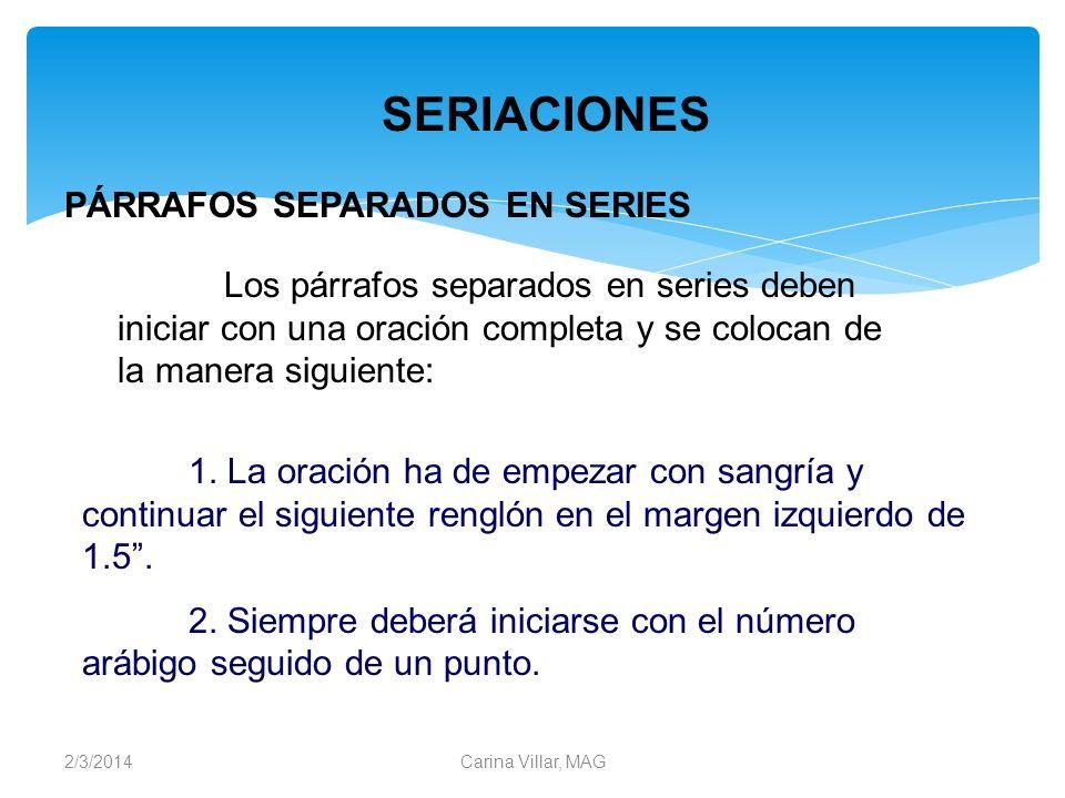 SERIACIONES PÁRRAFOS SEPARADOS EN SERIES