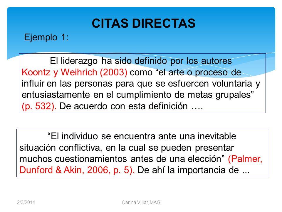 CITAS DIRECTAS Ejemplo 1: