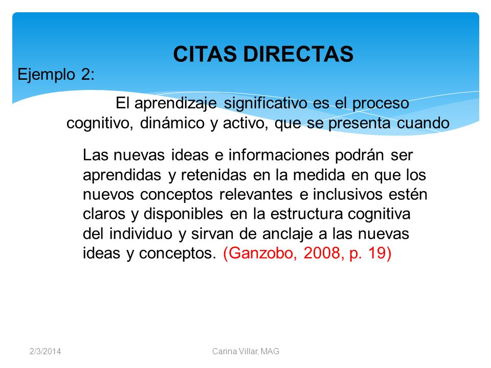 CITAS DIRECTAS Ejemplo 2:
