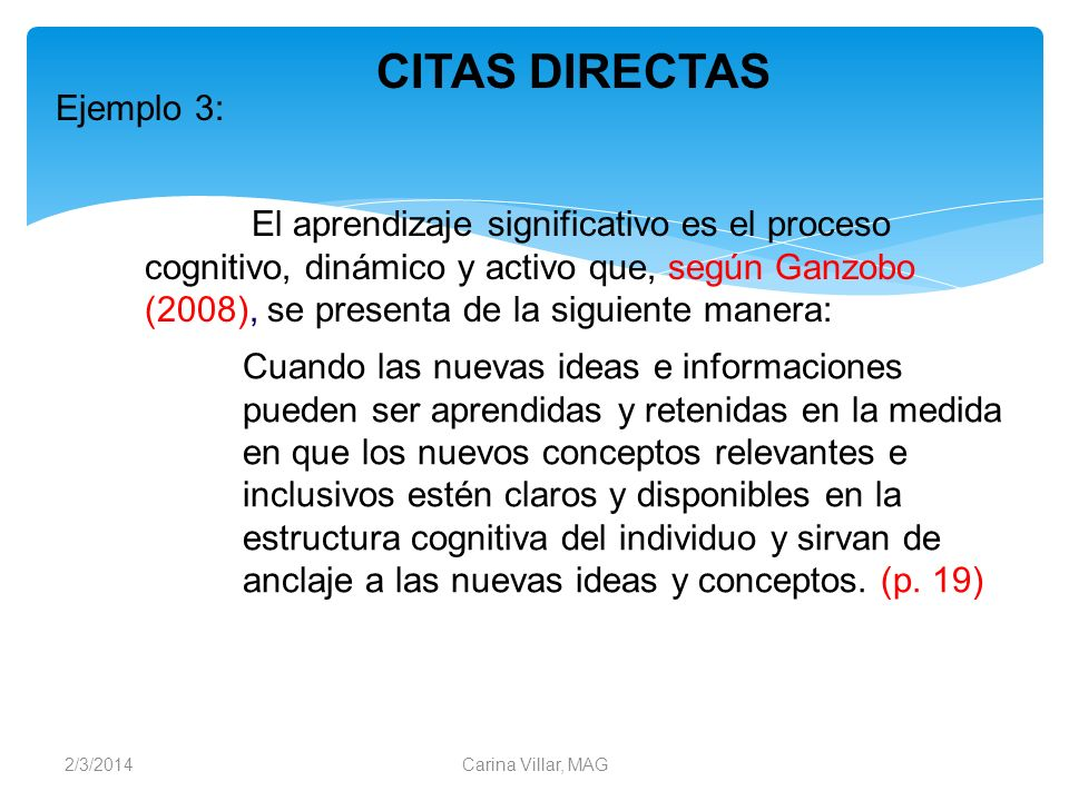 CITAS DIRECTAS Ejemplo 3: