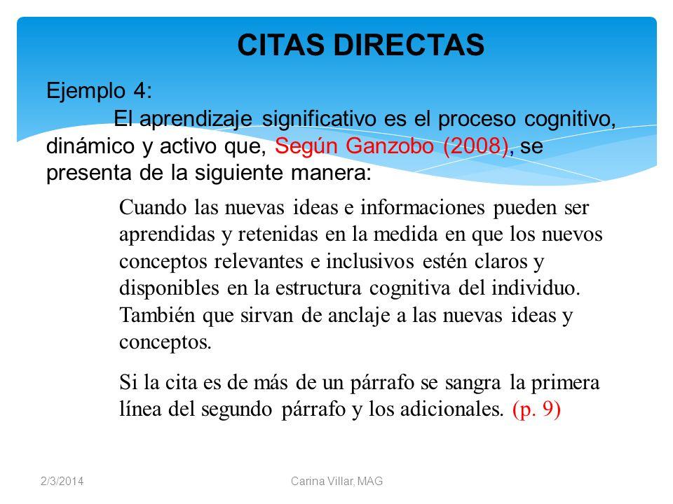 CITAS DIRECTAS Ejemplo 4:
