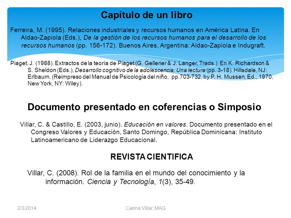 Documento presentado en coferencias o Simposio