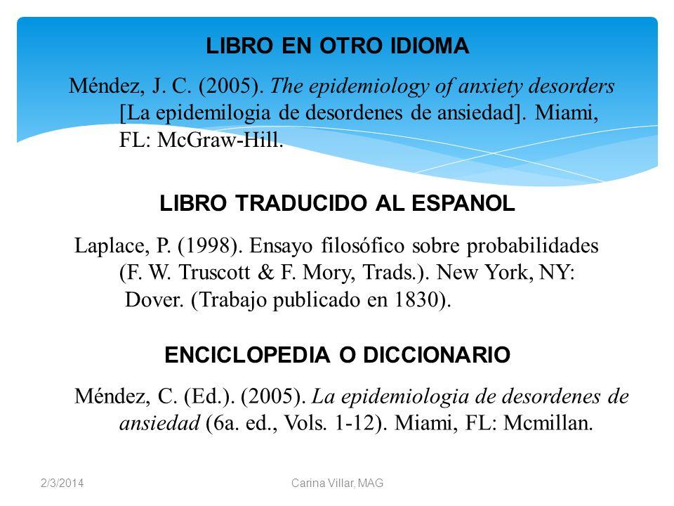 LIBRO TRADUCIDO AL ESPANOL ENCICLOPEDIA O DICCIONARIO