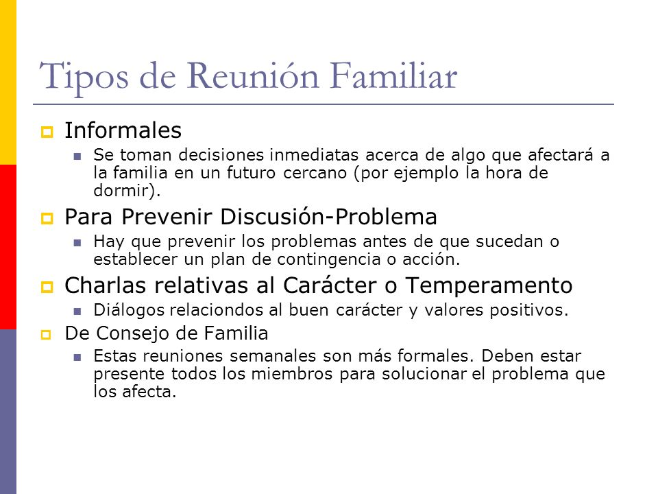 Tipos de Reunión Familiar