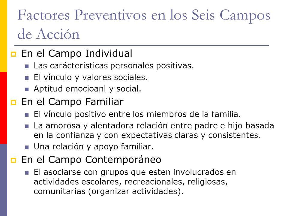 Factores Preventivos en los Seis Campos de Acción