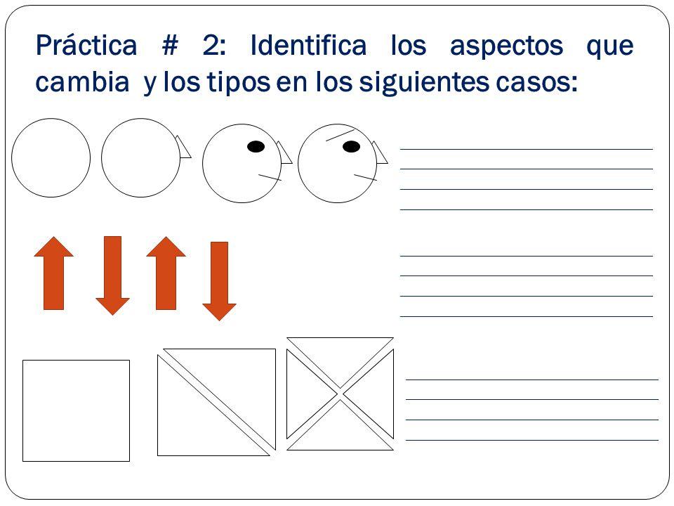 Práctica # 2: Identifica los aspectos que cambia y los tipos en los siguientes casos: