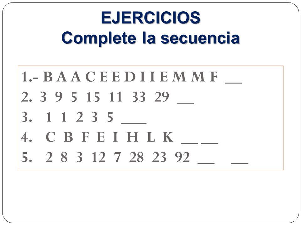 EJERCICIOS Complete la secuencia
