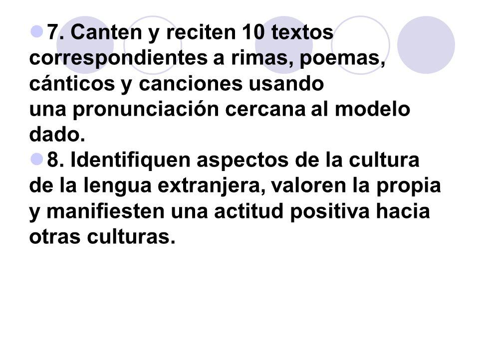 7. Canten y reciten 10 textos