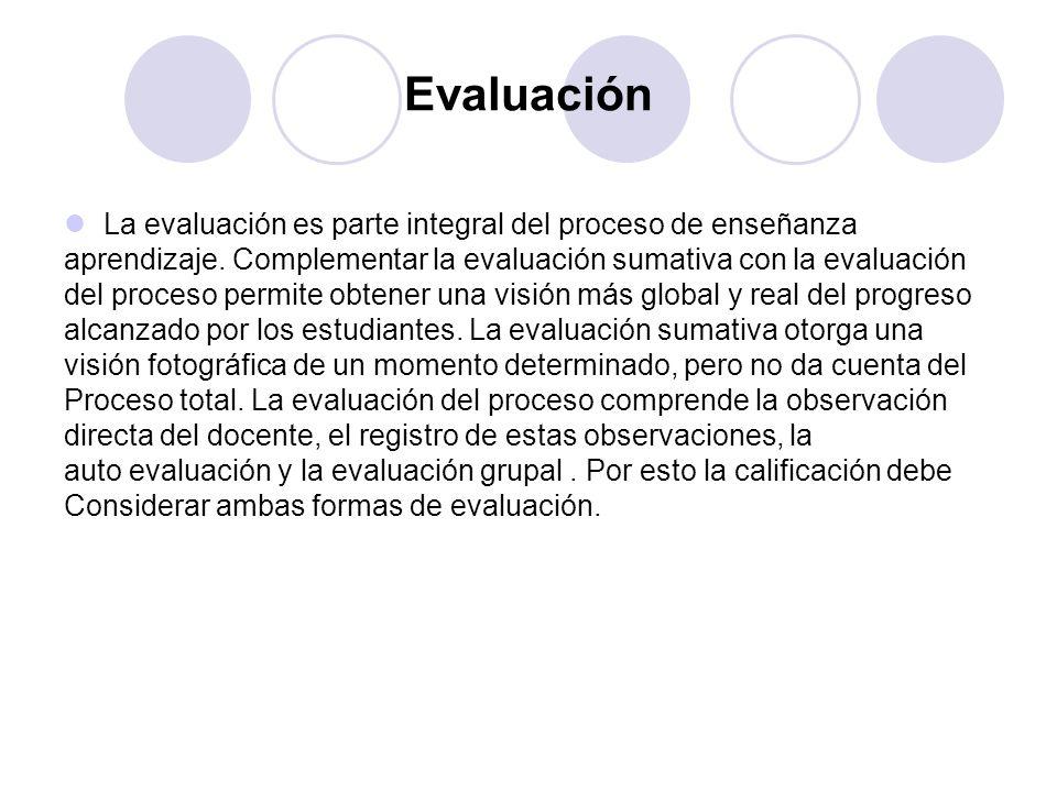 Evaluación La evaluación es parte integral del proceso de enseñanza