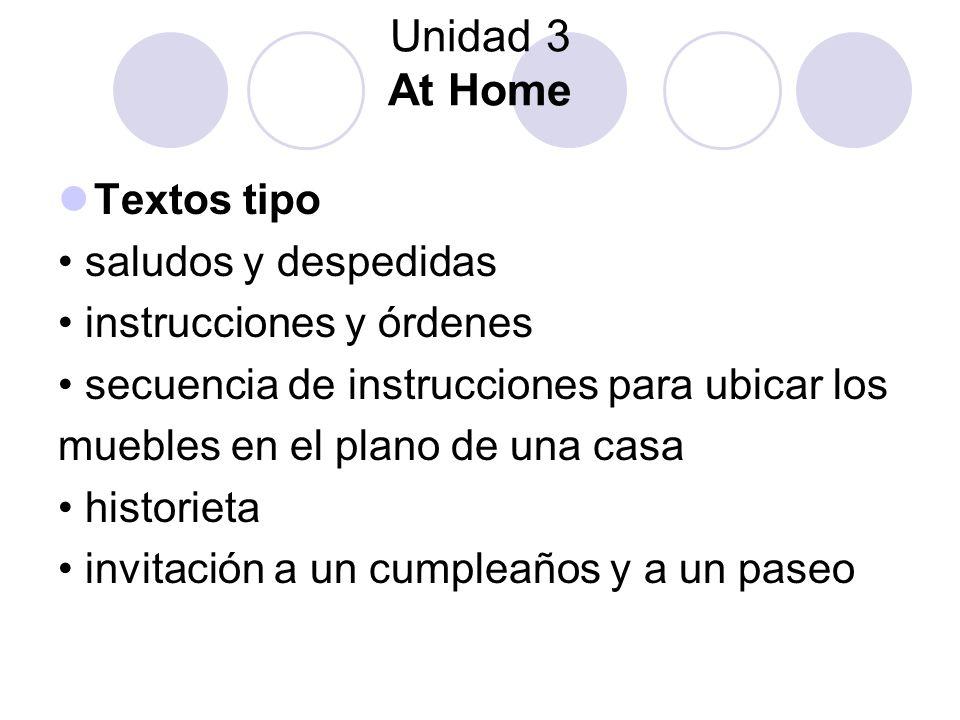 Unidad 3 At Home Textos tipo • saludos y despedidas