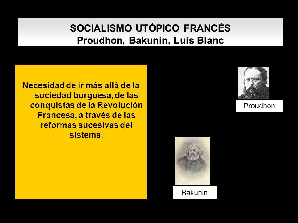 SOCIALISMO UTÓPICO FRANCÉS Proudhon, Bakunin, Luis Blanc