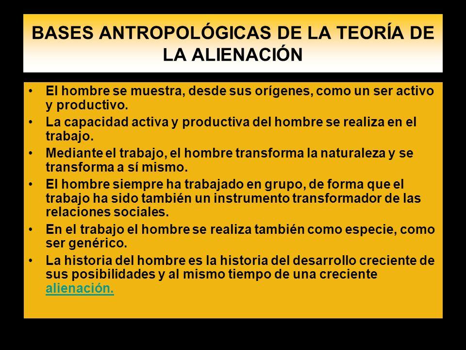 BASES ANTROPOLÓGICAS DE LA TEORÍA DE LA ALIENACIÓN