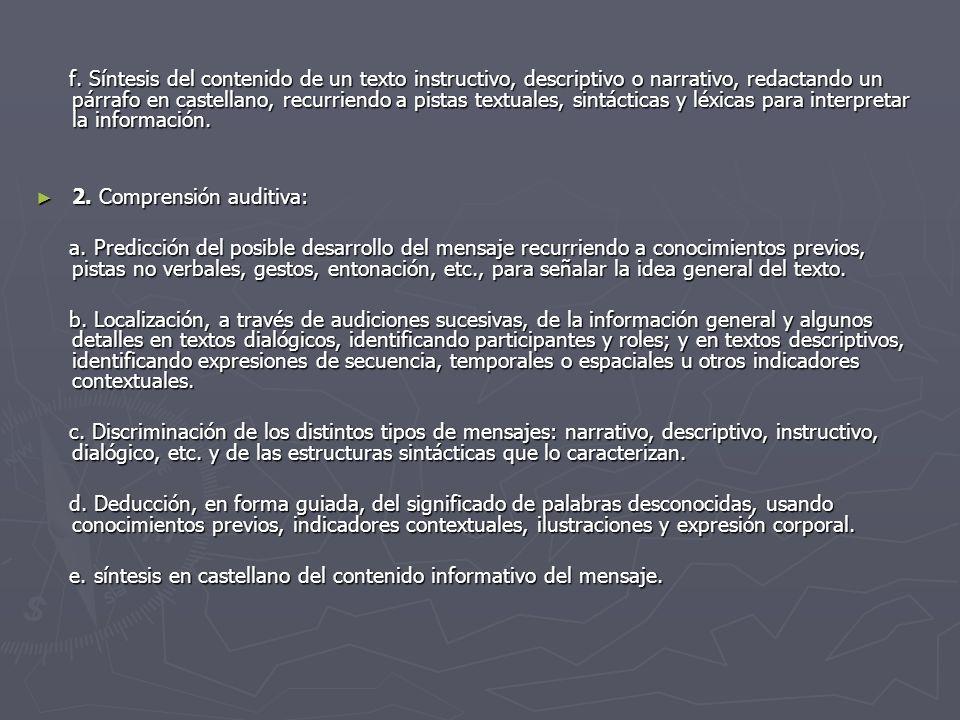f. Síntesis del contenido de un texto instructivo, descriptivo o narrativo, redactando un párrafo en castellano, recurriendo a pistas textuales, sintácticas y léxicas para interpretar la información.