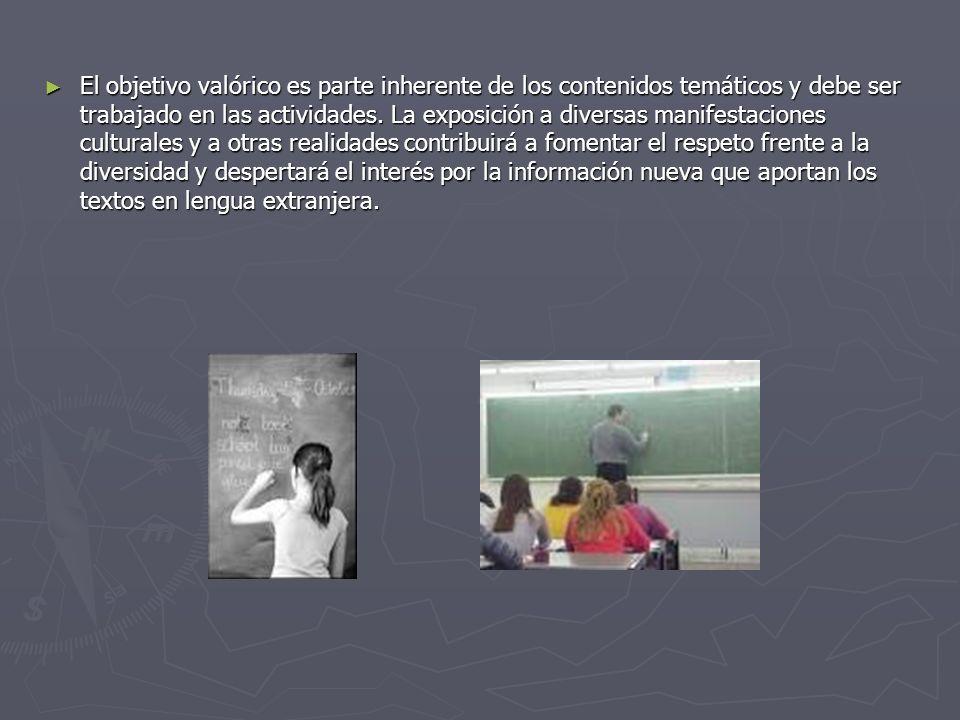 El objetivo valórico es parte inherente de los contenidos temáticos y debe ser trabajado en las actividades.