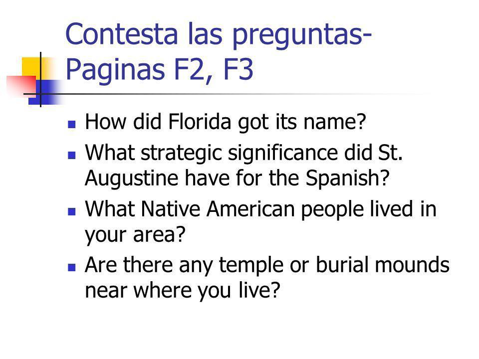Contesta las preguntas- Paginas F2, F3