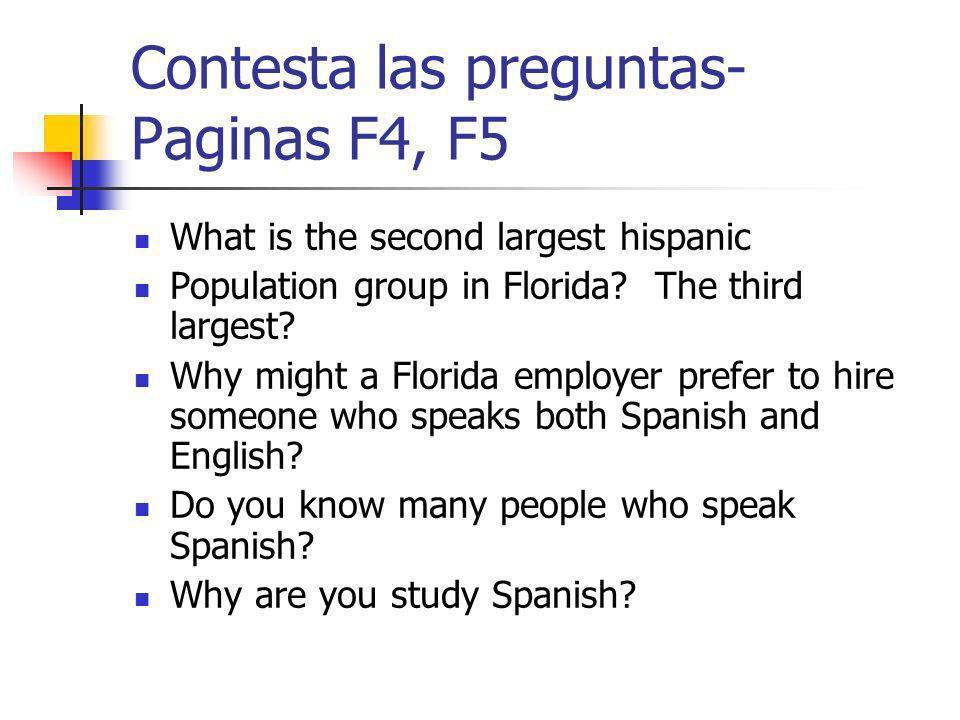 Contesta las preguntas- Paginas F4, F5