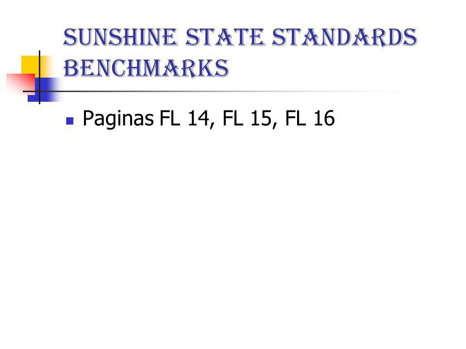 Sunshine State Standards Benchmarks
