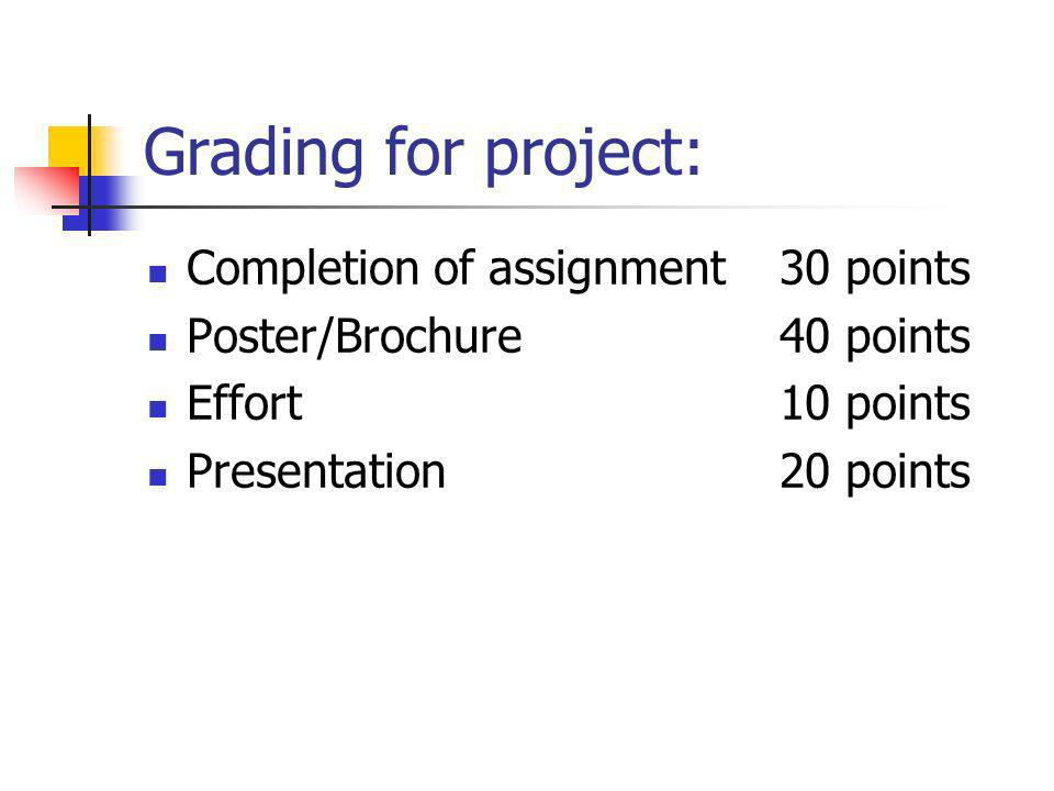 Grading for project: Completion of assignment 30 points