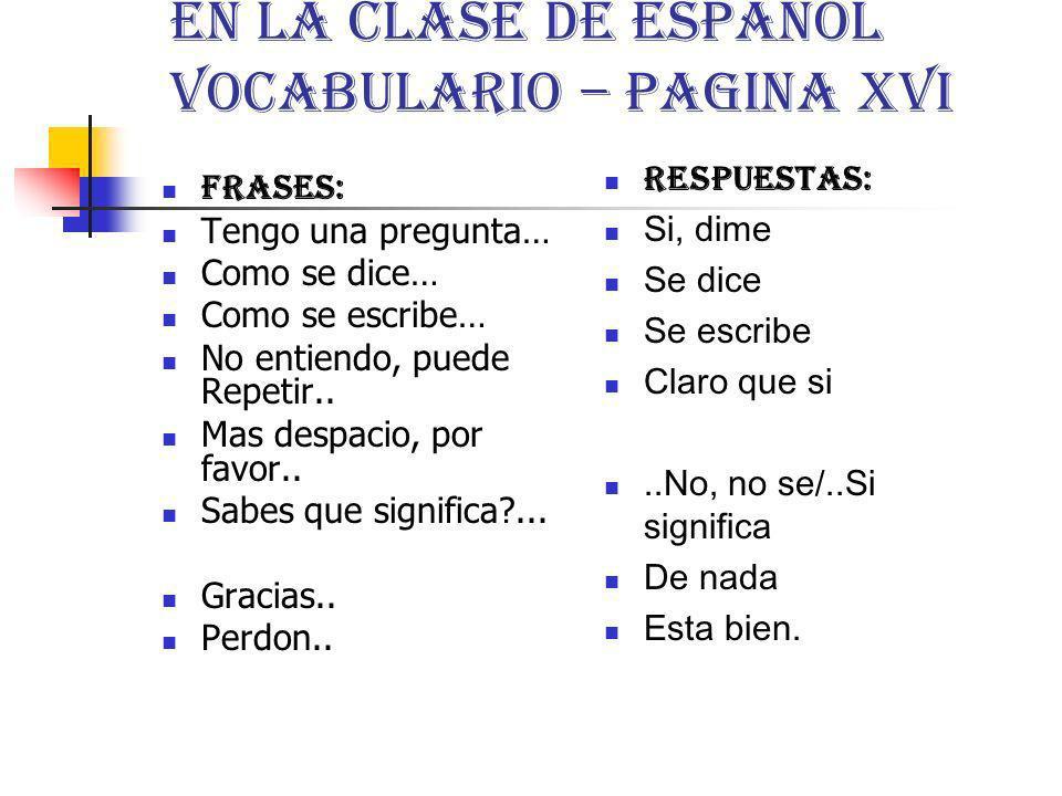 En La Clase de Español Vocabulario – pagina xvi