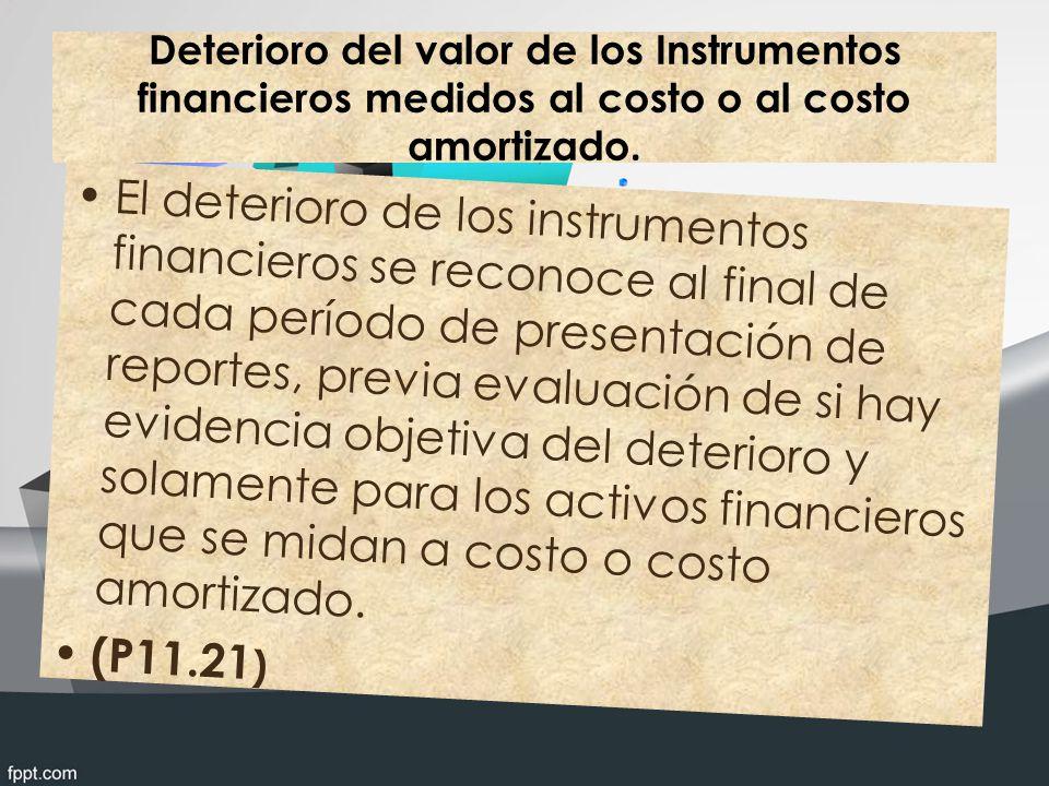 Deterioro del valor de los Instrumentos financieros medidos al costo o al costo amortizado.