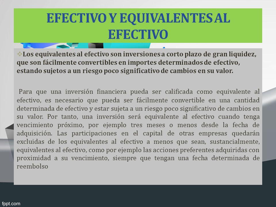EFECTIVO Y EQUIVALENTES AL EFECTIVO
